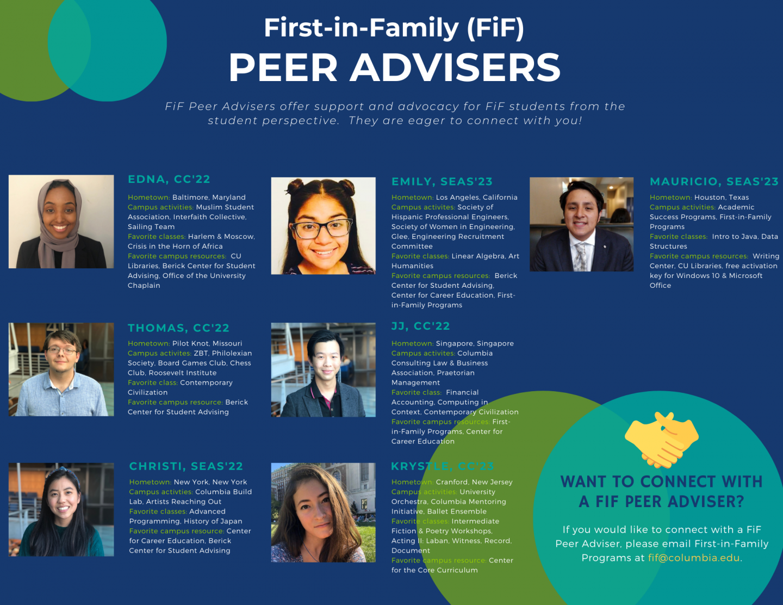 2020-2021 First-in-Family Peer Adviser Announcment