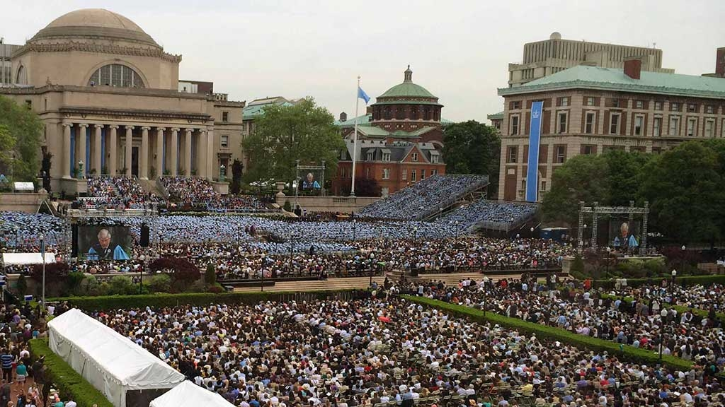 The Columbia University campus filled with people on Commencement Day