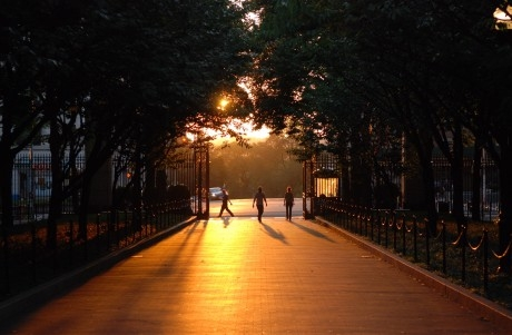 Sun sets on College Walk