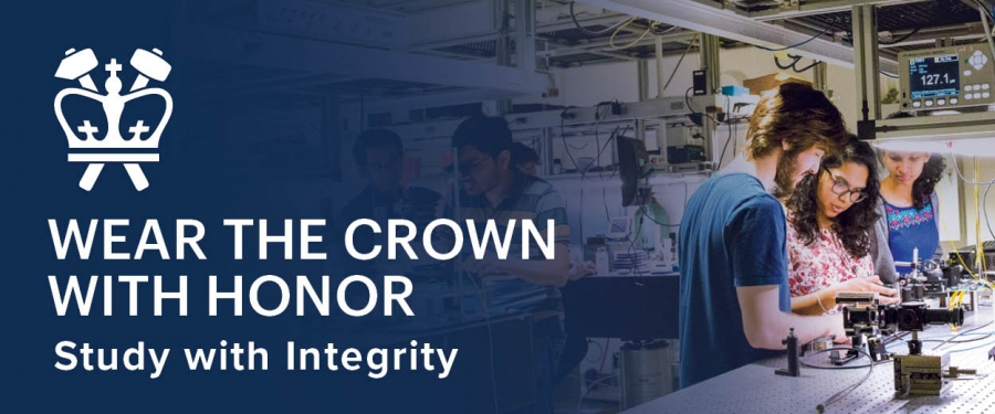 Blue background with Columbia Engineering Crown that says in White text, Wear the Crown with Honor on the left side and two students on the right side working in a research lab