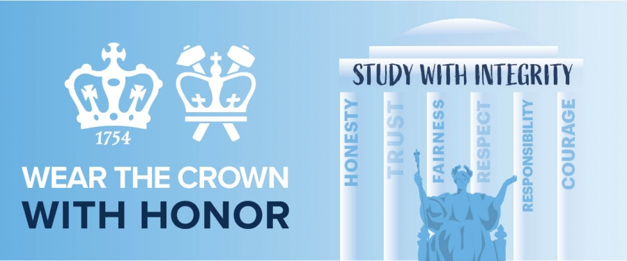 "Light blue background with alma mater on the right in front of white pillars at Low Library with the words on each pillar, honesty, trust, fairness, respect, responsibility and courage with the words horizational above saying ""Study with Integrity"" The left hand side has both Columbia College and Columbia Engineering crowns with the words ""Wear the Crown with Honor"""