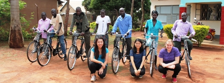 Distributing bikes to the village health team workers (VHTs)