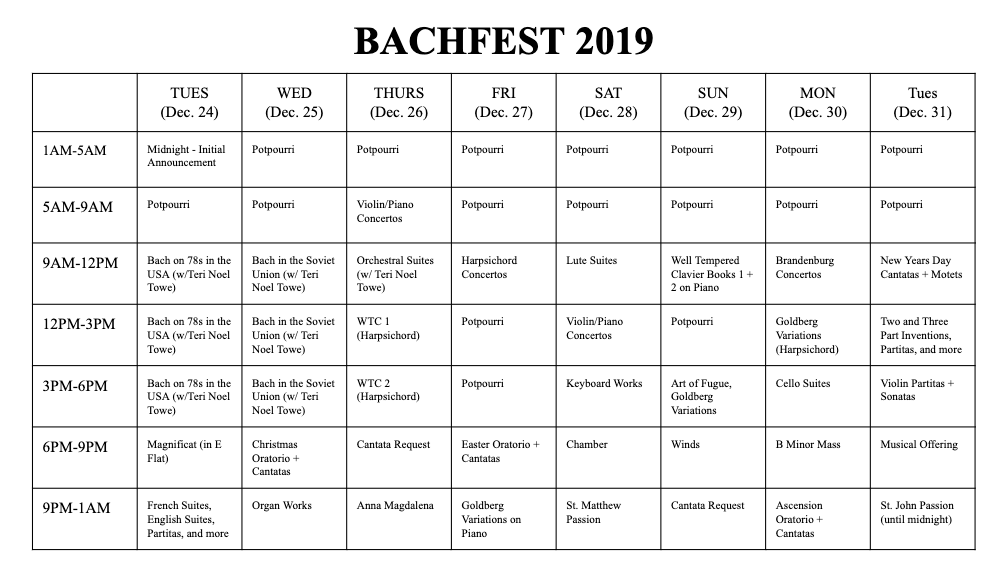 Bachfest Schedule